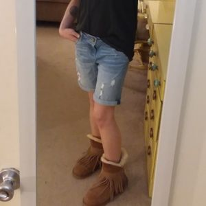 Light Denim Catherine Boyfriend Distressed Shorts
